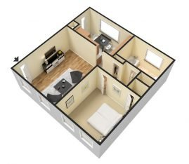 3D Furnished. 1 Bedroom 1 Bathroom. 600 sq. ft.