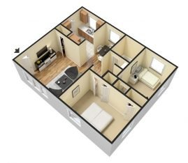 3D Furnished. 2 Bedroom 1 Bathroom. 850 sq. ft.