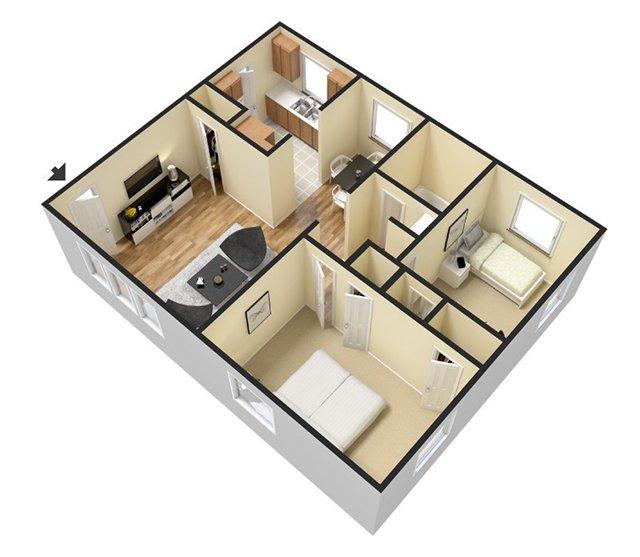 Furnished 2 Bedroom 1 Bathroom 850 Sq Ft