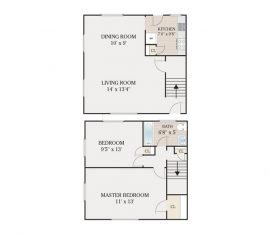 2 Bedroom 1 Bathroom Townhouse. 980 sq. ft.