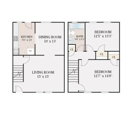 2 Bedroom 1 Bathroom Townhouse Deluxe. 1060 sq. ft.