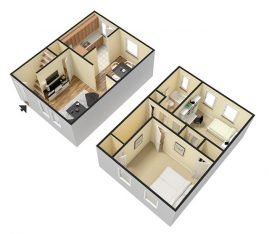 3D Furnished. 2 Bedroom 1 Bathroom Townhouse Deluxe. 1060 sq. ft.